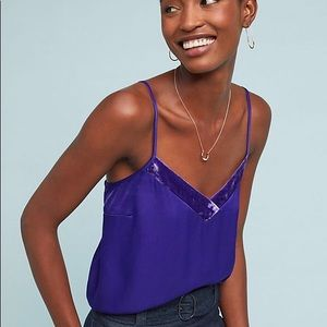 NWT ANTHROPOLOGIE Pure + Good Velvet-Trimmed Cami